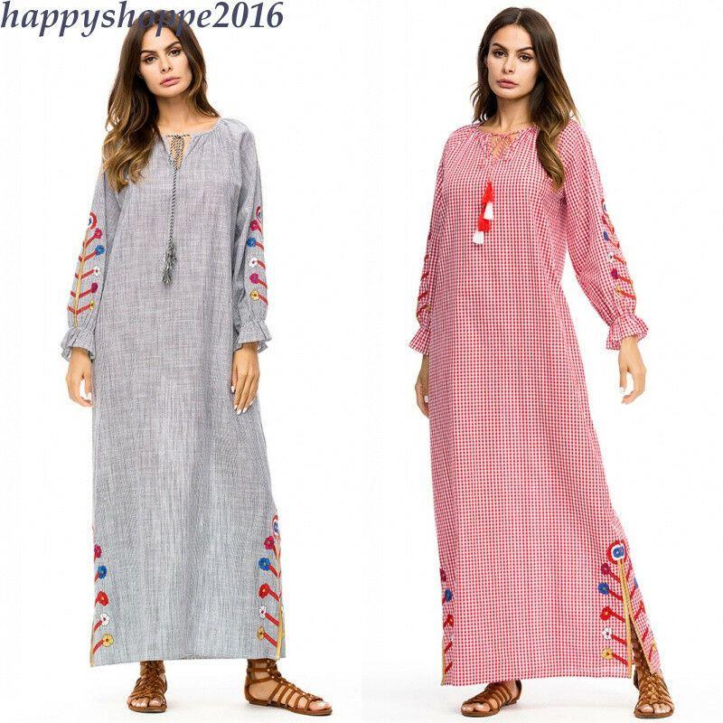 595137c1a615 eBay #Sponsored Dress Autumn Cotton Linen Embroidery FloralVintage Robe Muslim  Women Maxi Abaya
