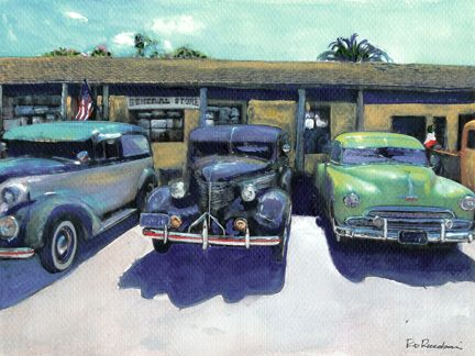 The General Store, Old Town, acrylic painting on canvas by RD Riccoboni®, one of America's favorite cultural heritage artists.  From The Beacon Artworks Gallery Collection at Fiesta de Reyes in  Old Town San Diego State Historic Park.