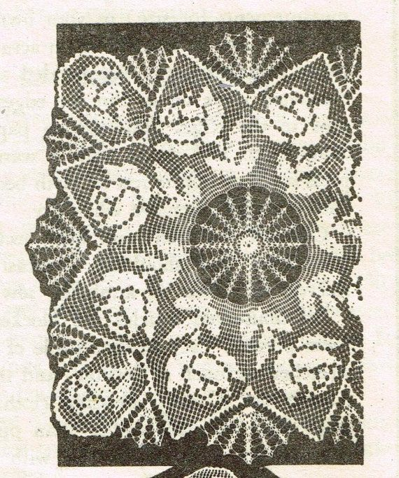 Old Crochet Pattern Design 7069 Tv Cover Square Doily 3 Different