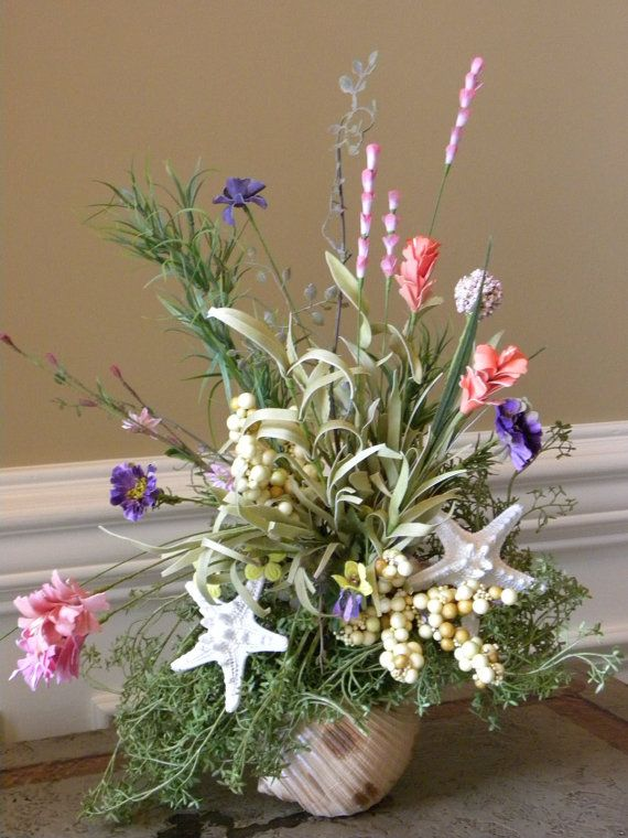Beach Cottage Seahell Starfish Floral Arrangement By