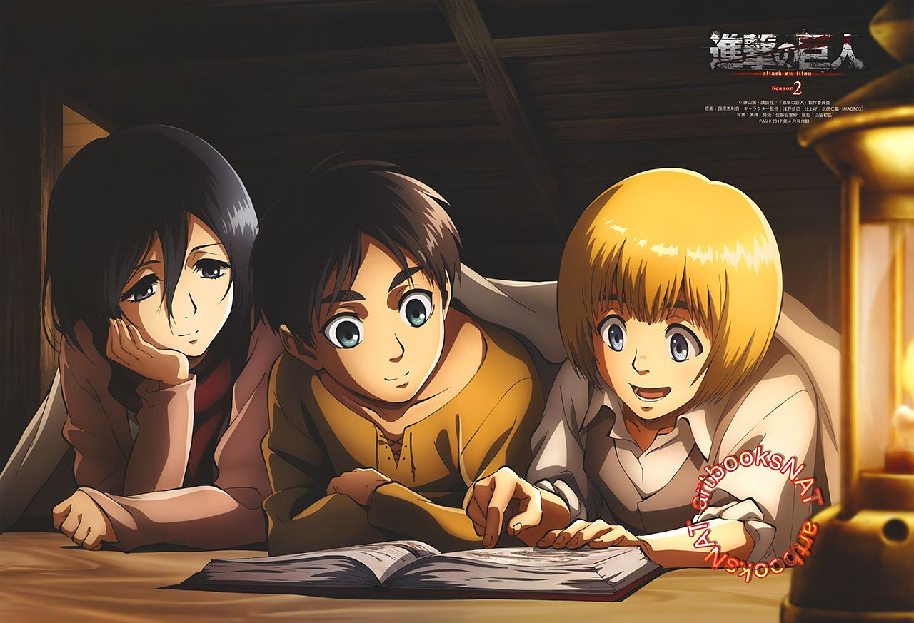 Attack On Titan É€²æ'ƒã®å·¨äºº A Young Mikasa Eren And Armin Read A Book By Candlelight In Pash Magazine Amazon Us Ebay Promotional Poster Art For Attack On Tita