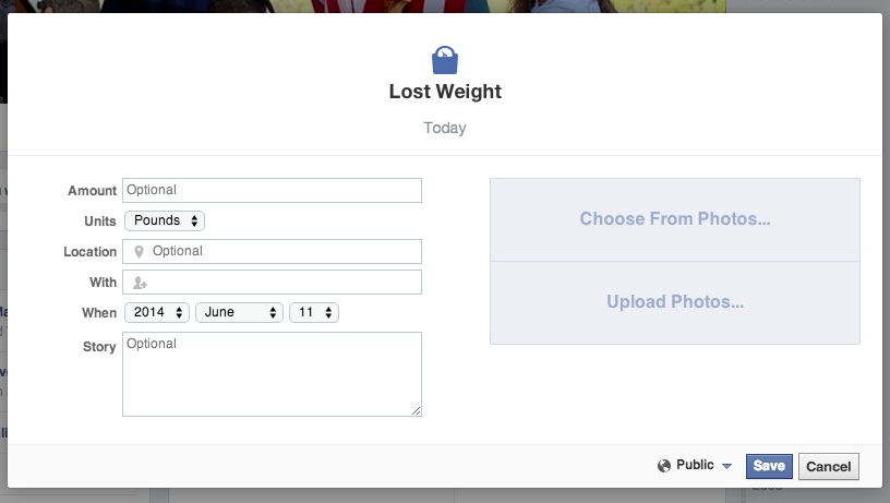 Facebook did not just introduce a weight loss Life Event -- users have had the option to list weight loss as a life event since 2011.