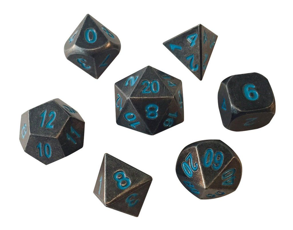 $27.99 - Set of 7 Metallic Polyhedral Role Playing Game Dice This set contains one: D4, D6, D8, D10, D%, D12, and D20.  Each Die-Cast made dice set is solid and heavy en