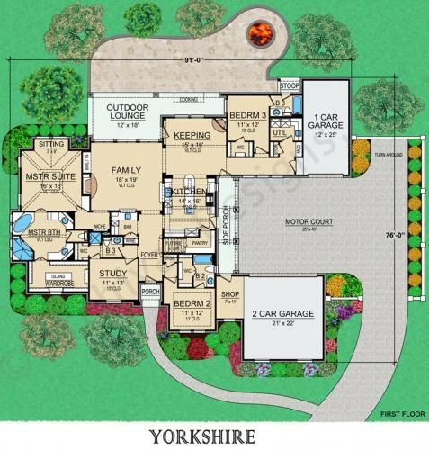 Yorkshire | Courtyard House Plan | Small Luxury House Plan ...