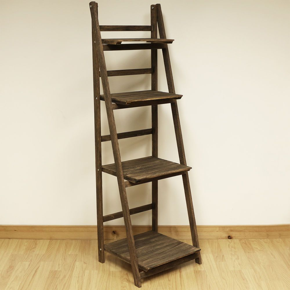 4 tier brown ladder shelf display unit free standing
