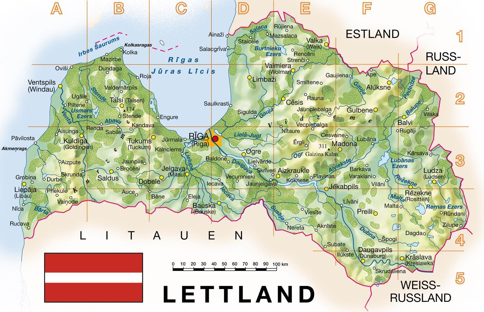map of Latvia. Latvia topographical map | Vidiani.com | Maps ...
