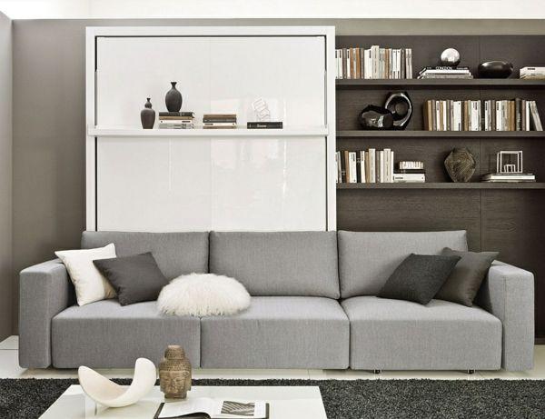 Wohnideen Grau wohnideen klappbett sofa grau schwarzer teppich wandregal wohnen