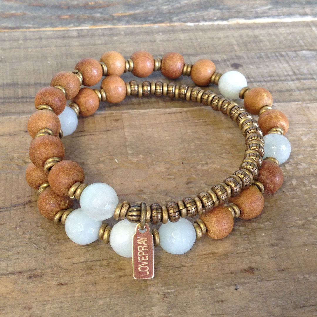 Sandalwood And Amazonite Fifth Chakra 27 Beads Wrap Mala