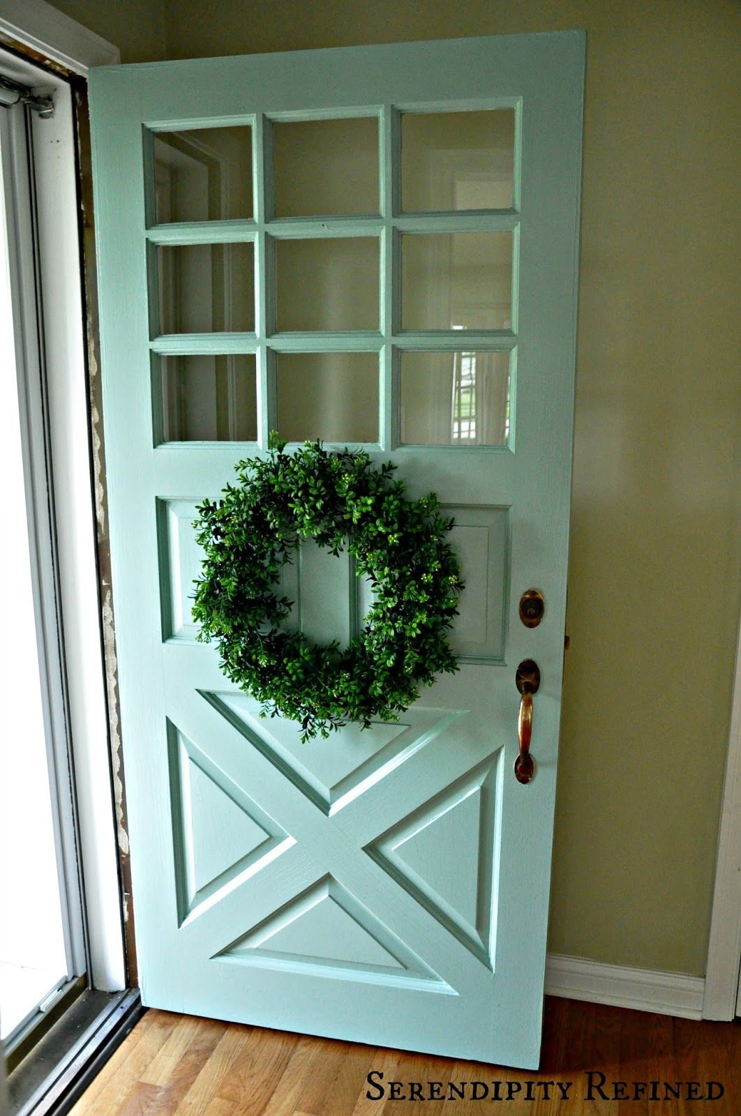 This soft turquoise is the new color for the exterior doors ...