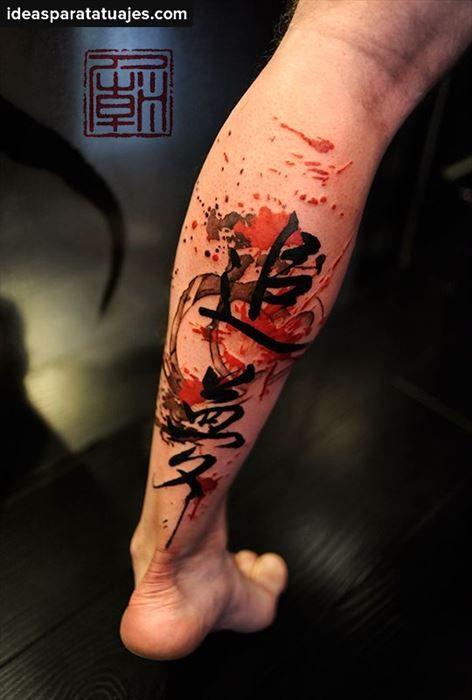 Tatuaje Letras Chinas Pierna