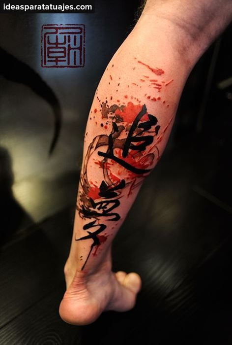 Tatuaje Con Caligrafia China En La Pierna Tatto Tatuajes Chinos