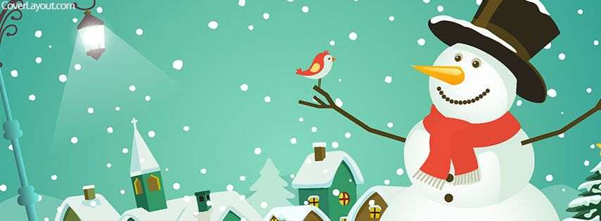 Happy Snowman With Bird Facebook Cover coverlayout.com ...