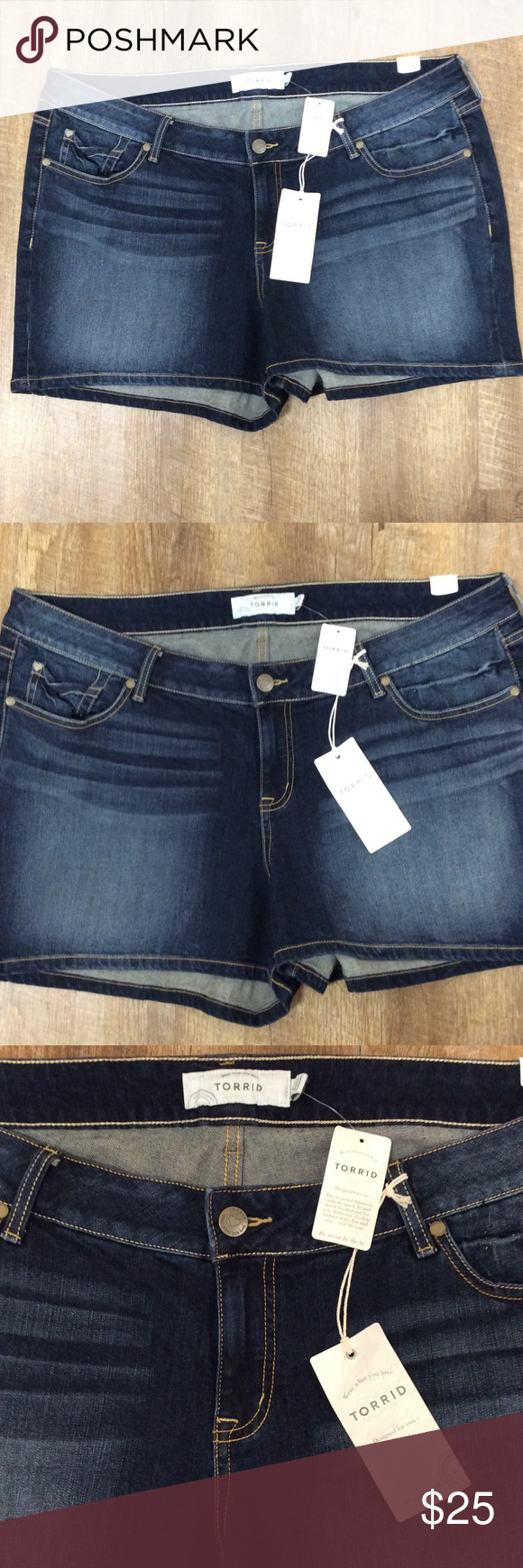 cf3f0130c47 Torrid Dark Wash Distressed Denim Shorts NWT dark Distressed Denim shorts  from Torrid size 22. Measurements from top to bottom seam 13