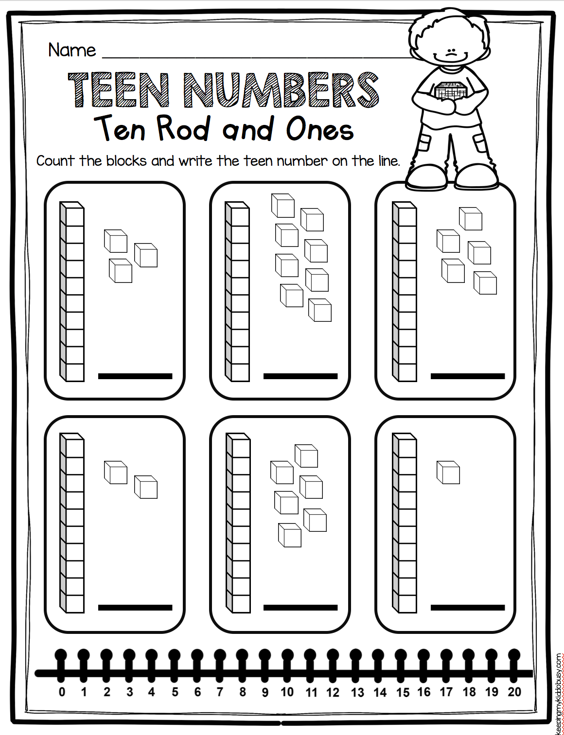 teen numbers kindergarten math worksheet using base ten blocks tricky teens number and. Black Bedroom Furniture Sets. Home Design Ideas