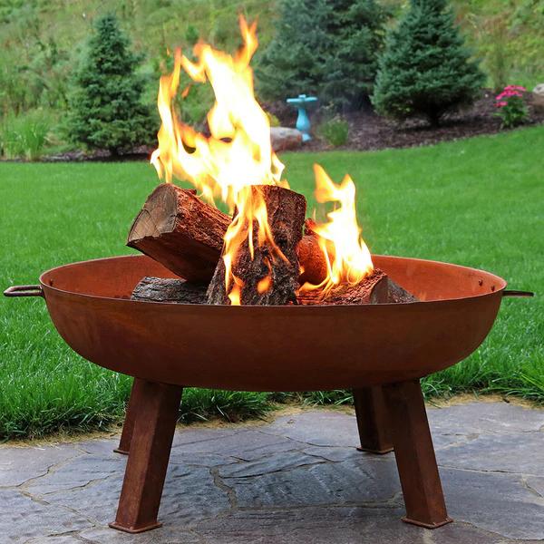 Photo of Sunnydaze Rustic Cast Iron Fire Pit Bowl