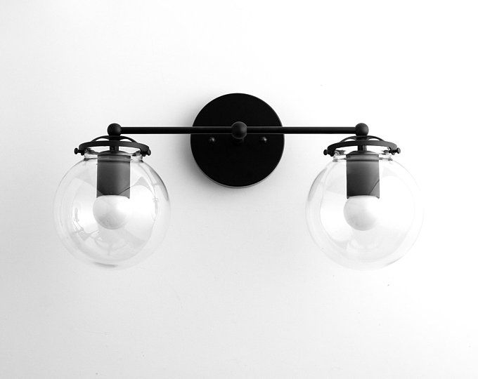Photo of Black Vanity – 1950's Lighting – Mid Century Lighting – Bathroom Vanity – Hallway Lighting – Mirror Light – Wall Light – Model No. 8412