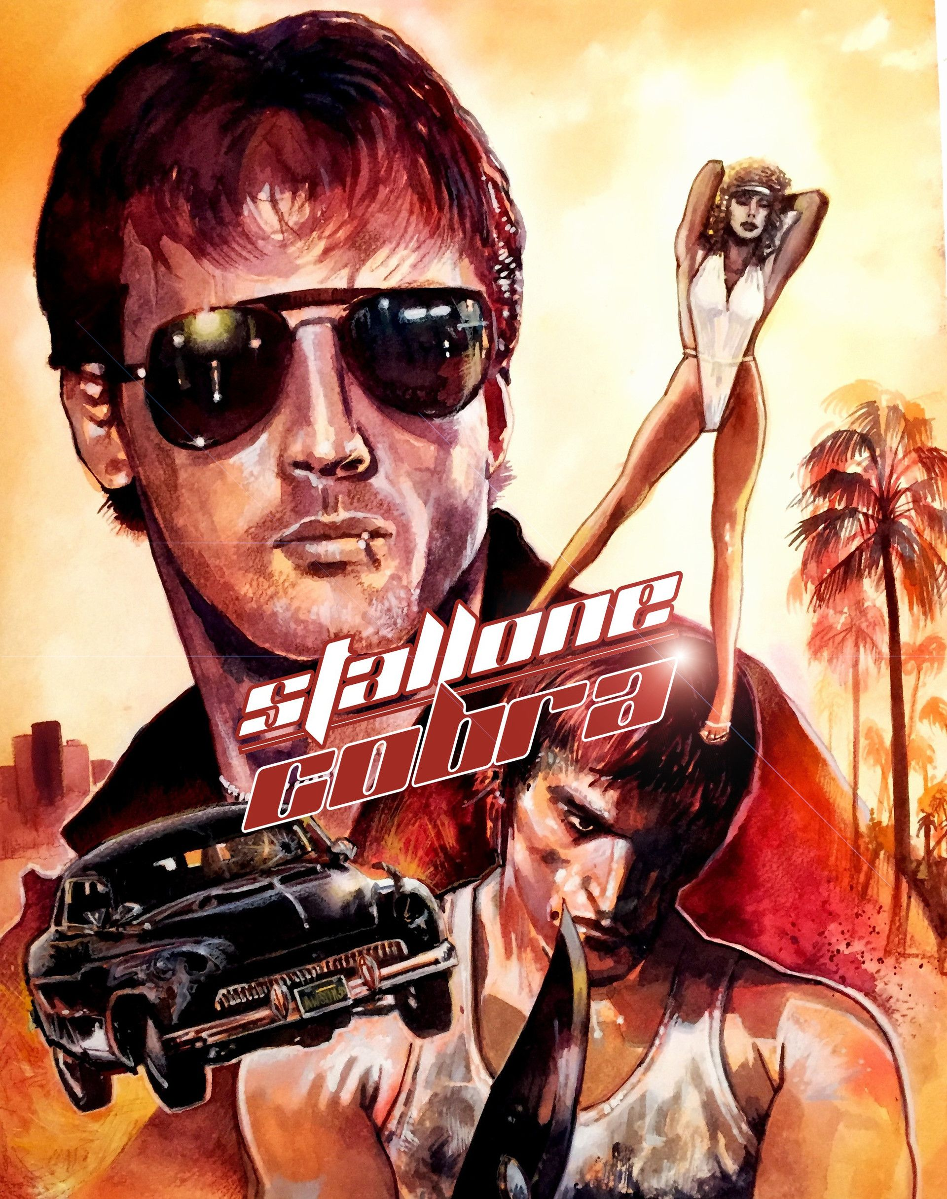 "1986 COBRA Silk Fabric Movie Poster 27/""x40/"" Stallone Rocky Rambo"