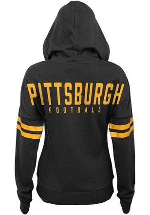 purchase cheap 32422 ed5b1 Pittsburgh Steelers Womens Black Varsity Pullover Hoodie ...