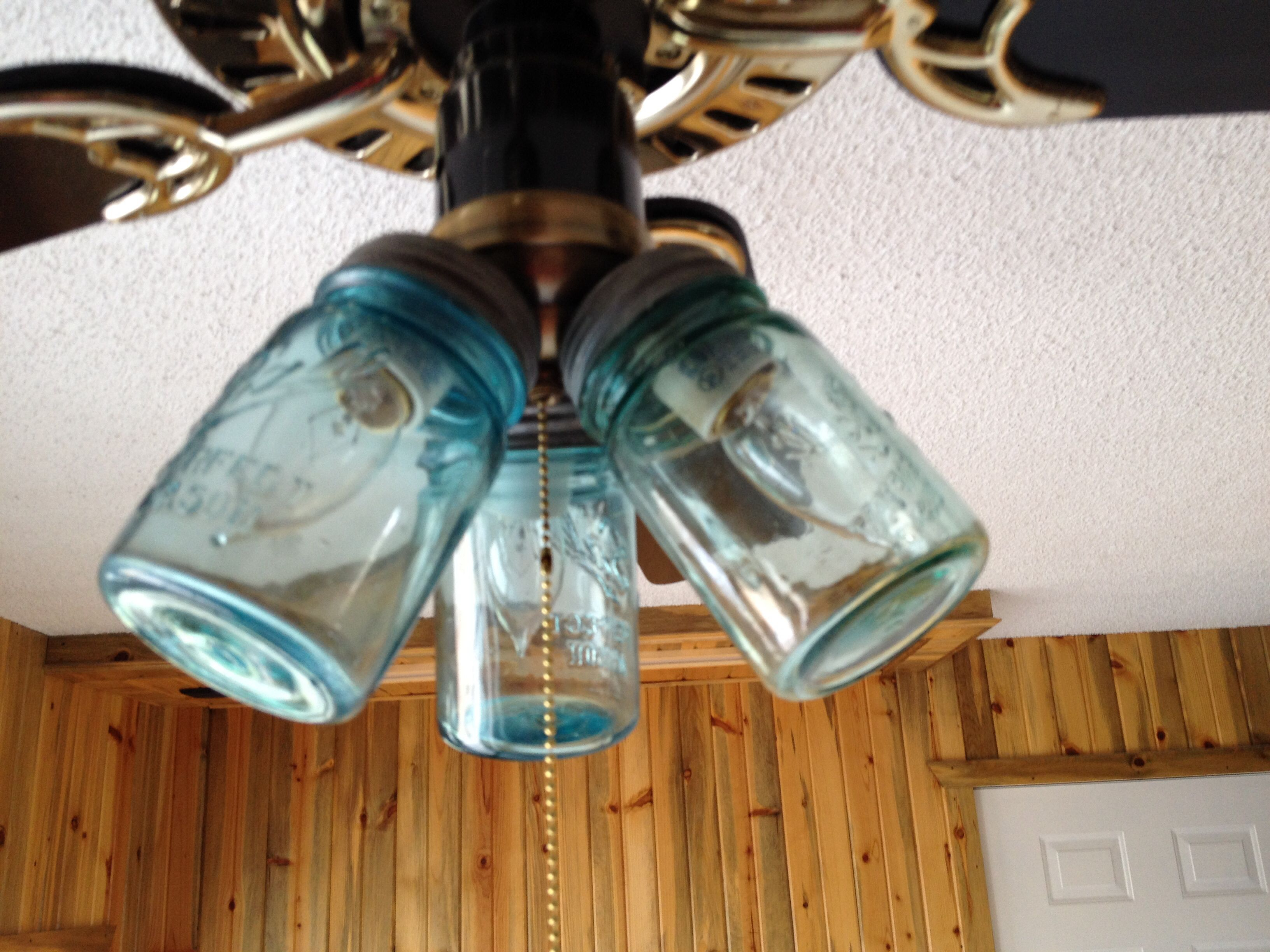Mason jar ceiling fan light covers   Home Sweet Home   Pinterest     Mason jar ceiling fan light covers