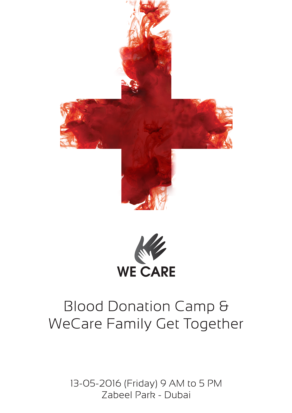 Poster design on blood donation - We Care Blood Donation Camp