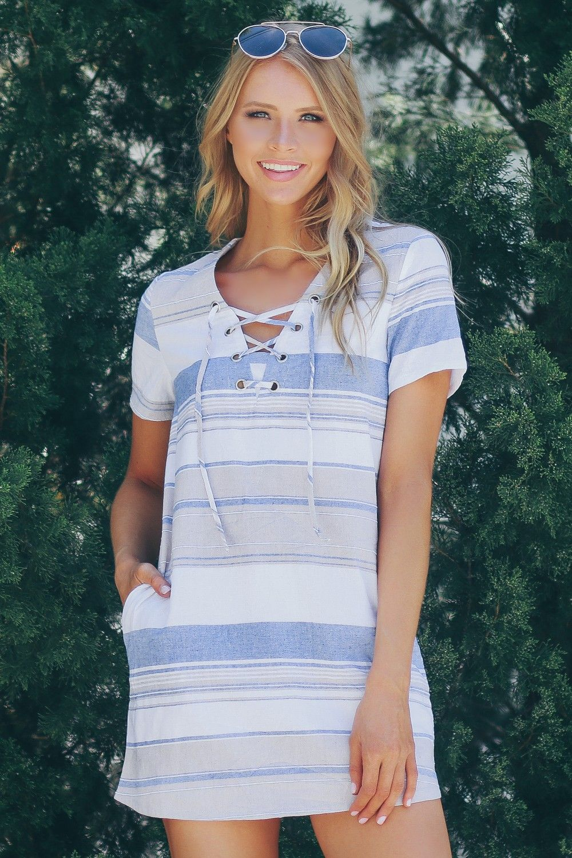 Lace up striped dress light blue in sophieutrey pinterest