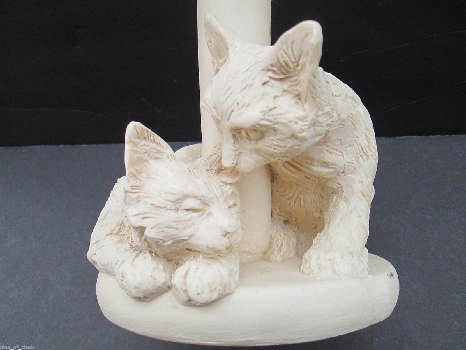 Sculpted cats candle holder figurine shabby white charleston soap