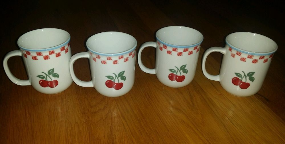 "Set of 4 Mainstays Home Cherry Orchard 3-3/4"" Mugs 6782929 Red Checked  #MainstaysHome"