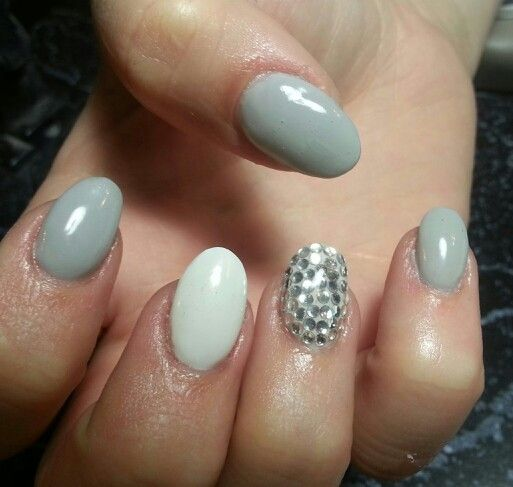 White And Silver For Prom Nail Ideas: Almond Gray White Silver Bling Rhinestones Gel Nail Design