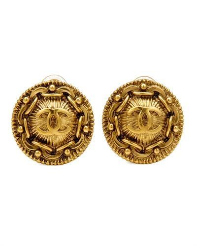 Auth Chanel Clip Earrings Rnd Gold 23mm 97p