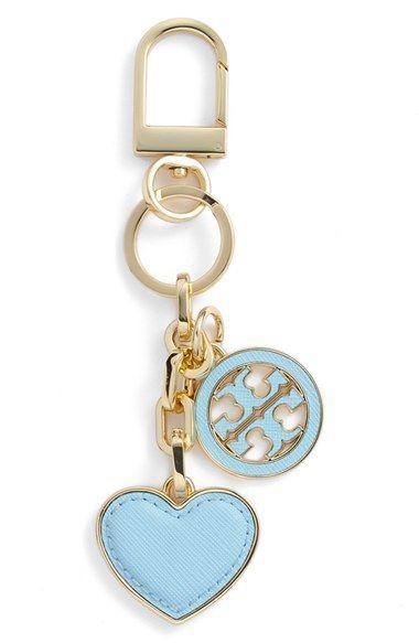 b2a56b4666f Tory Burch Logo Heart Bag Charm in Riviera Blue