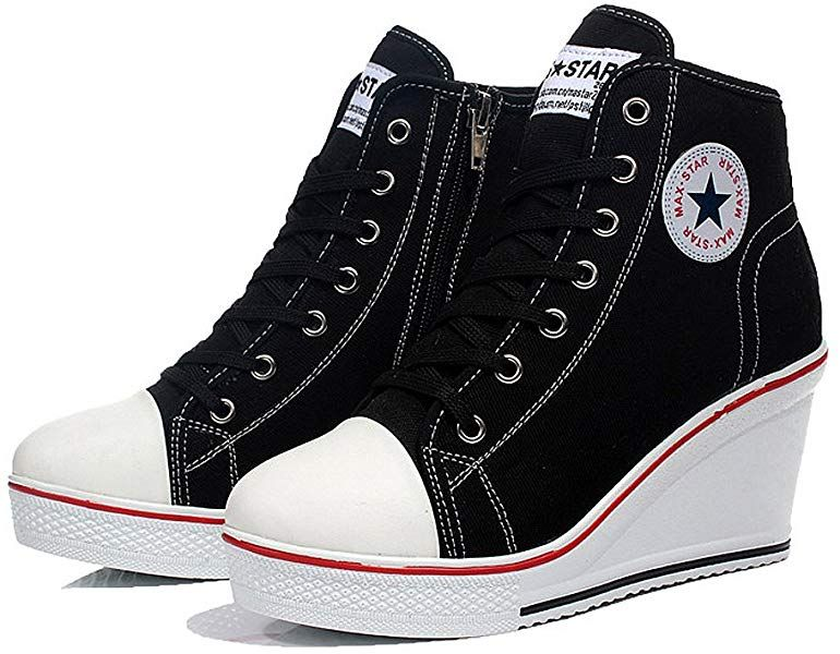 Qimaoo Damen Keilabsatz Schuhe Mädchen Canvas Sneaker Schuhe