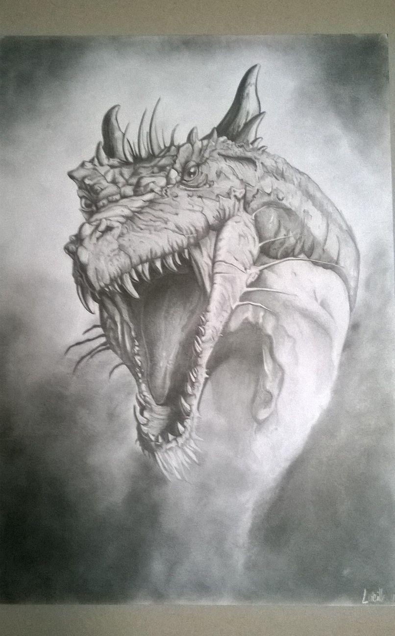 Dragon Noir Et Blanc Realise Au Crayon Graphite Dessins Par Chez