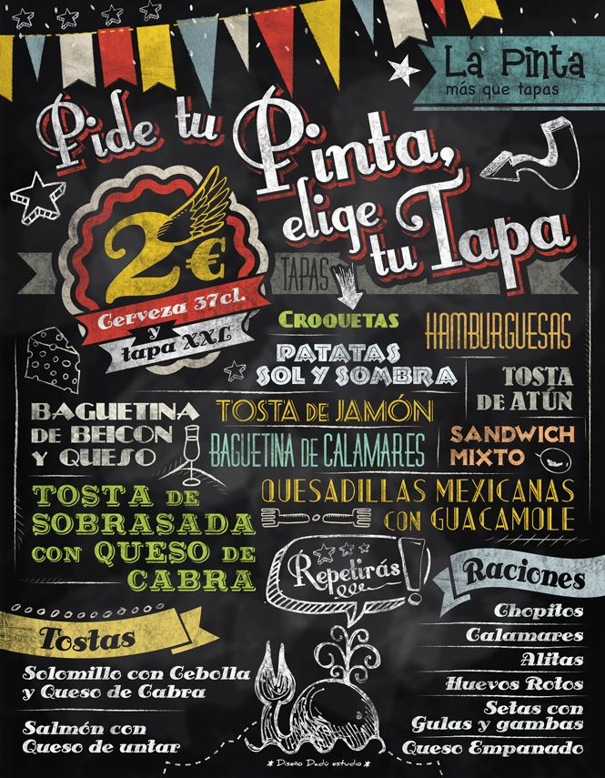 Cartel pizarra tapas bar chalkboard blackboard style for Tapas menu template