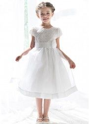 White Lace Bodice with Organza Skirt Girl Dress