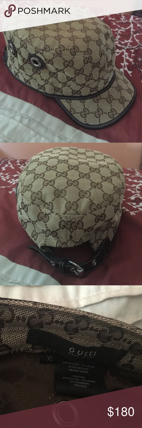 ece90f214f996 Authentic Gucci Canvas Military Hat X-Large! Excellent condition! Beige and  ebony trim and metal details! Made in Italy! Gucci Accessories Hats