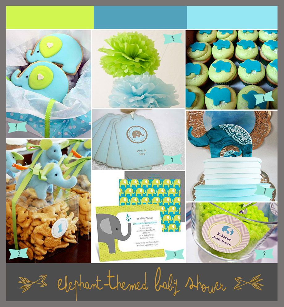 A Lime Green And Aqua Baby Shower With Elephants