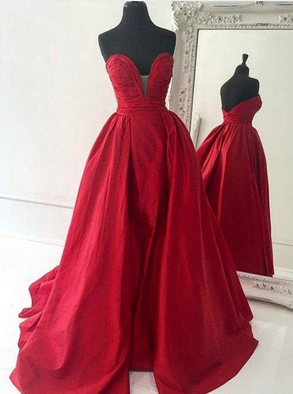 Decent Sweetheart Satin Court Train Red Ball Gown Prom Dress d21705079659