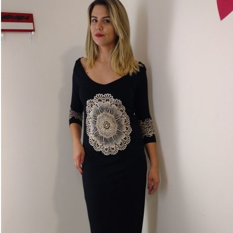 Vestido Longo Estampado Mandala Margarida por Pin Up! Black River
