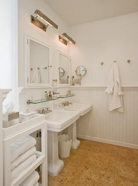 picture-lights over mirrors; glass shelves above sinks; magnifying ...