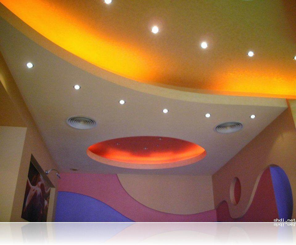 Interesting Pop Ceiling Colour Combination Colored