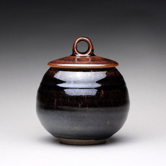 Handmade Ceramic Jar Lidded Jar Sugar Bowl With Black