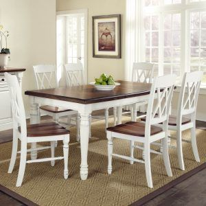 Kitchen Table Wood Top White Legs Dining Table Chairs Dining