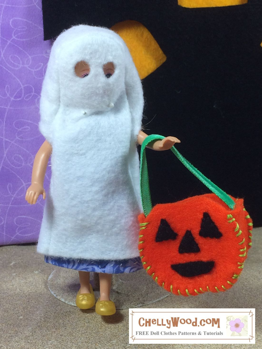 Visit chellywood for free printable sewing patterns for dolls visit chellywood for free printable sewing patterns for dolls of many shapes and sizes image shows a polly pocket doll wearing a hand made ghost jeuxipadfo Gallery