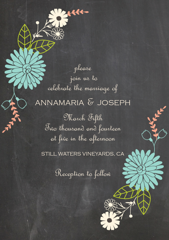 chalkboard floral invitations in blue my dream wedding pinterest