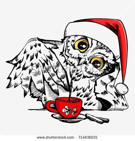 Cute owl bird with santa claus cap and cup hand drawn vector cute owl bird with santa claus cap and cup hand drawn vector inspiration illustration stopboris Choice Image