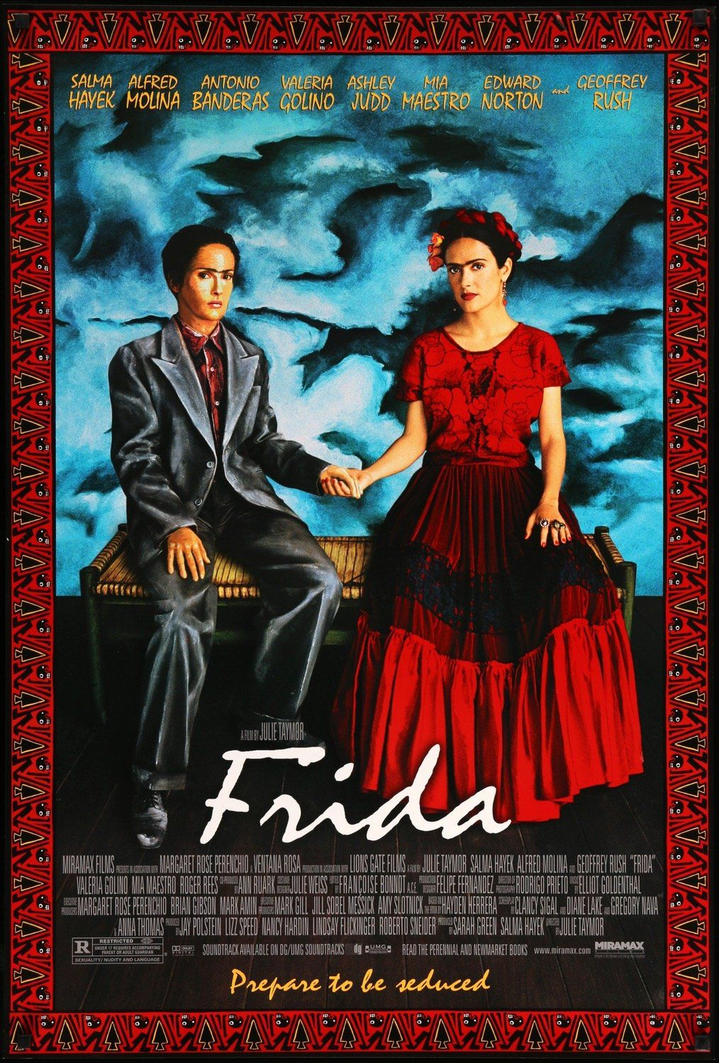 This is an original, rolled, one-sheet movie poster from 2002 for Frida starring Salma Hayek, Alfred Molina, Antonio Banderas, Valeria Golino, Ashley Judd, Mia Maestro, Edward Norton, and Geoffrey Rush. Julie Taymor directed the biographical drama. The single-sided poster measures 27