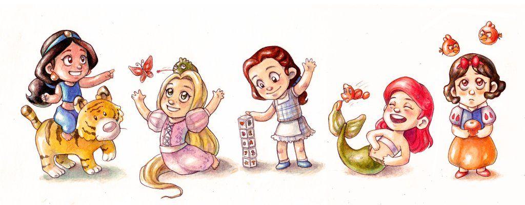 Disney Babies: Jasmine, Rapunzel, Belle, Ariel, Snow White