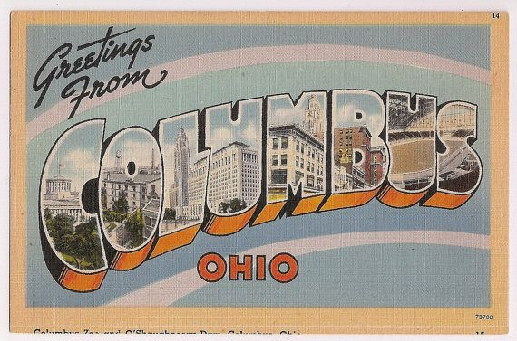 Columbus Ohio Vintage Large Letter Greeting Postcard Oh Kitsch