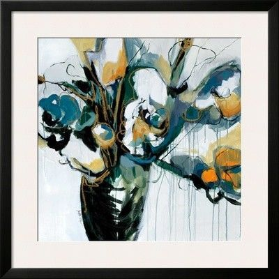 'Blooms in Shamrock Grey' by Angela Maritz Framed Painting Print