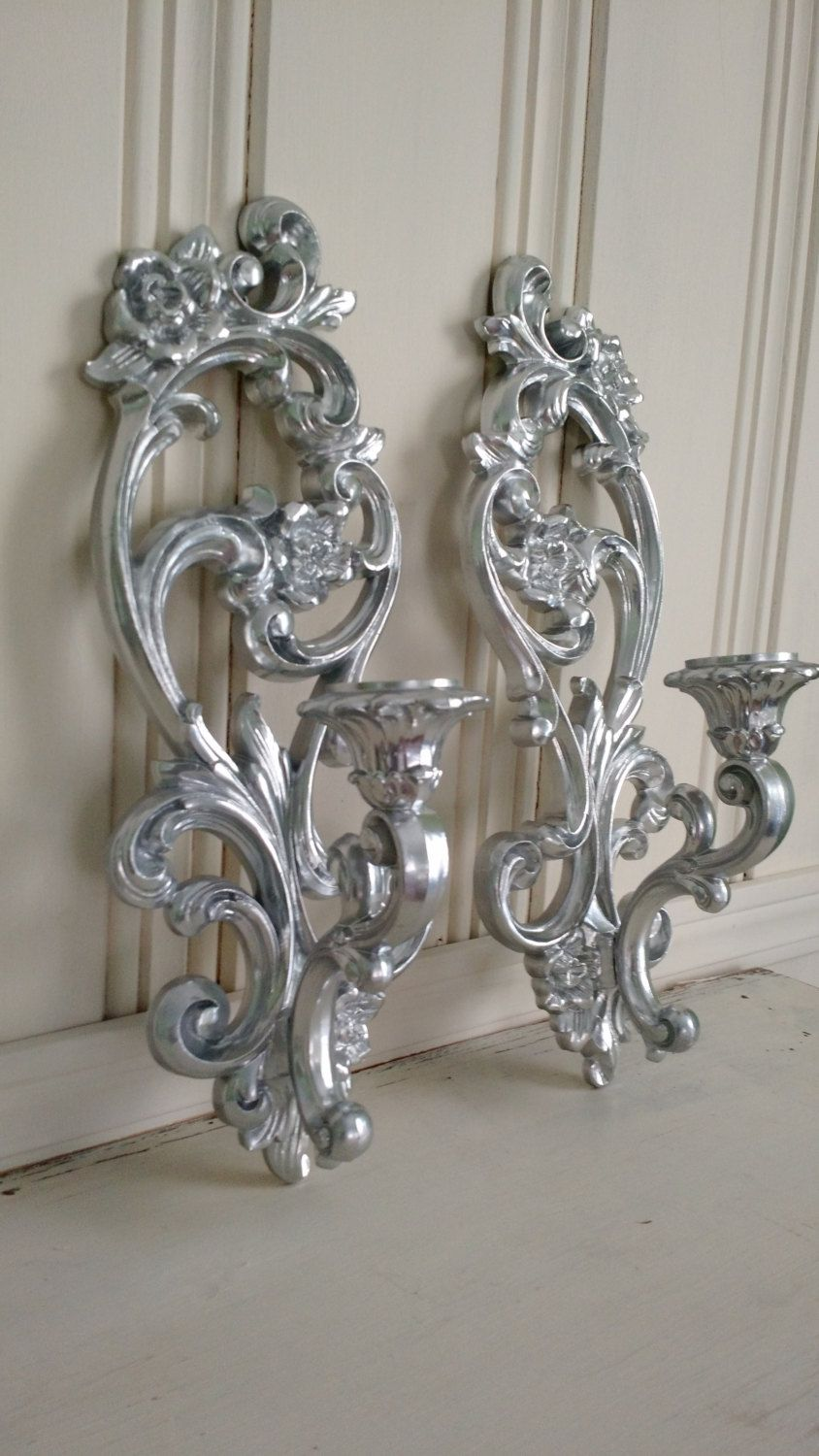 Silver Painted Vintage Candle/Wall Sconces by ... on Silver Wall Sconces For Candles id=75954